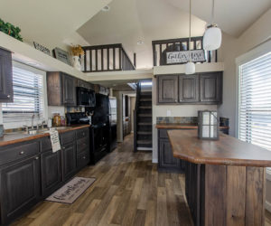 affordable tiny home Brown wooden kitchen