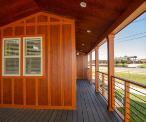 side porch at the incredible tiny home Rustic
