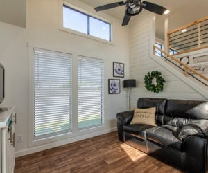 living room details in the affordable tiny home White