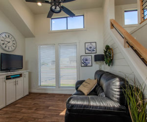 living room in the affordable tiny home White