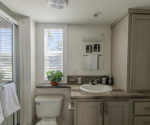 bathroom in the modular home Tumbleweed made by Pratt Homes