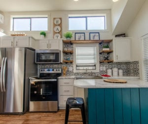 kitchen in the affordable tiny home White