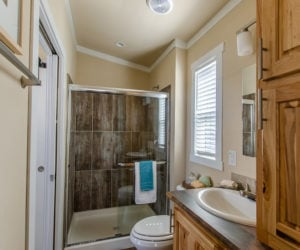 bathroom in the house Mindy made by Pratt Homes