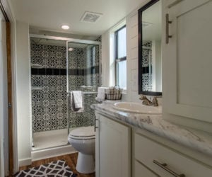 bathroom details in the affordable tiny home White
