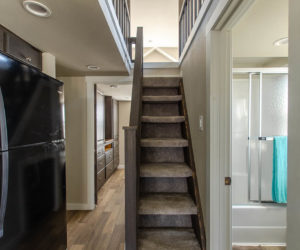 affordable tiny home Brown stairs
