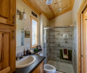 bathroom in the incredible tiny home Rustic