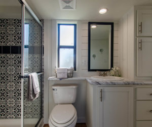 bathroom in the affordable tiny home White