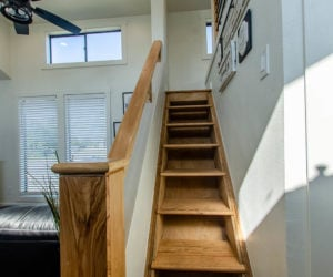 stairs in affordable tiny home White