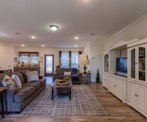 living room of the house model Koinonia II made by pratt homes tyler texas