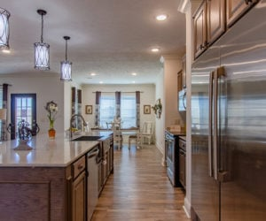 kitchen view of the house model Koinonia II made by pratt homes tyler texas
