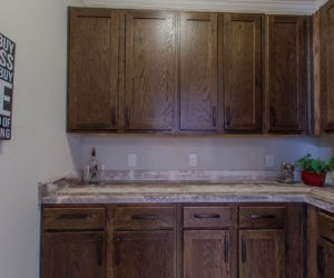 furnished kitchen at the bailey house made by pratt homes tyler tx
