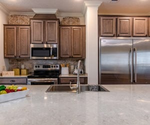 kitchen space of the house model Koinonia II made by pratt homes tyler texas