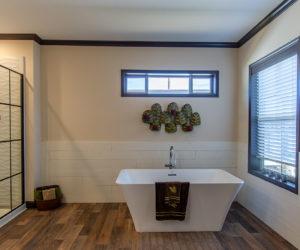 master bathroom in house model double offset made by pratt homes tyler texas
