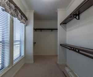 master closet of the house model Koinonia II made by pratt homes tyler texas