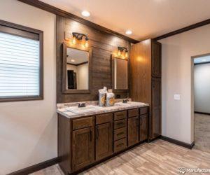 Entrance to the bathroom in the house model Melissa from Pratt Homes Tyler Texas