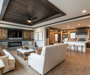 living room with wooden details from house model Melissa from Pratt Homes