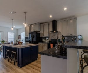 kitchen with dining space at the McKenzie house made by Pratt Homes Tyler