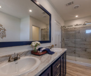 entrance to a master bath at the McKenzie house made by Pratt Homes Tyler